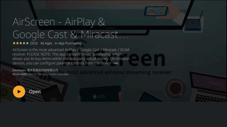 open AirScreen App after download complete