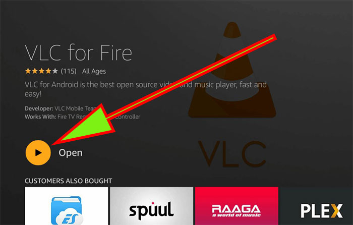Open VLC Player Firestick