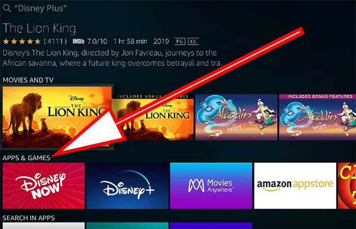 Go to apps and games section on Fire TV disney app search