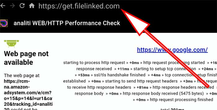 enter filelinked on analiti web check