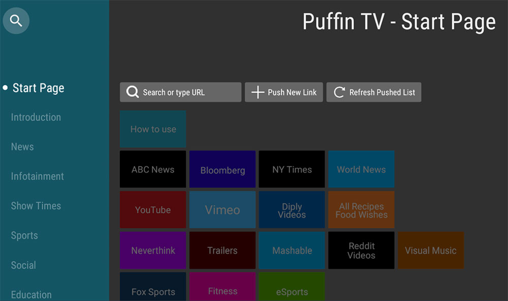 Puffin TV Start Page