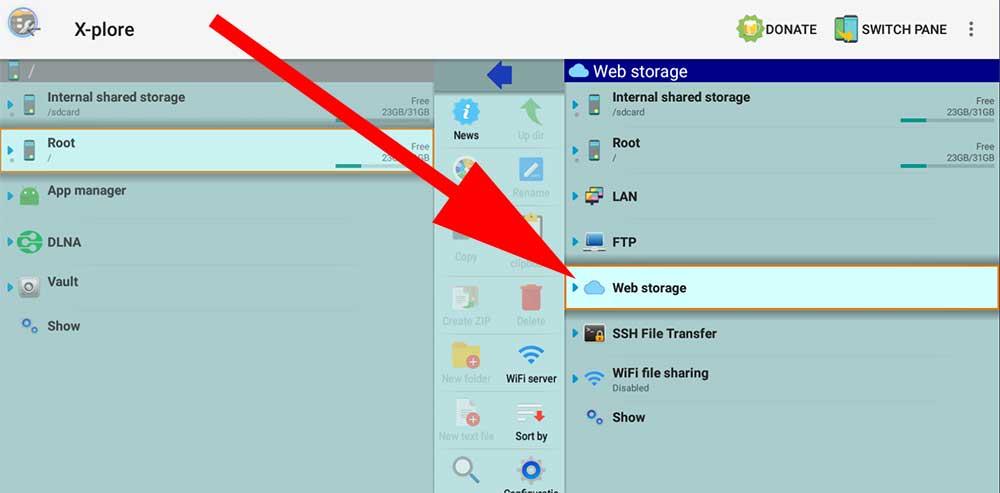 x-plore web storage