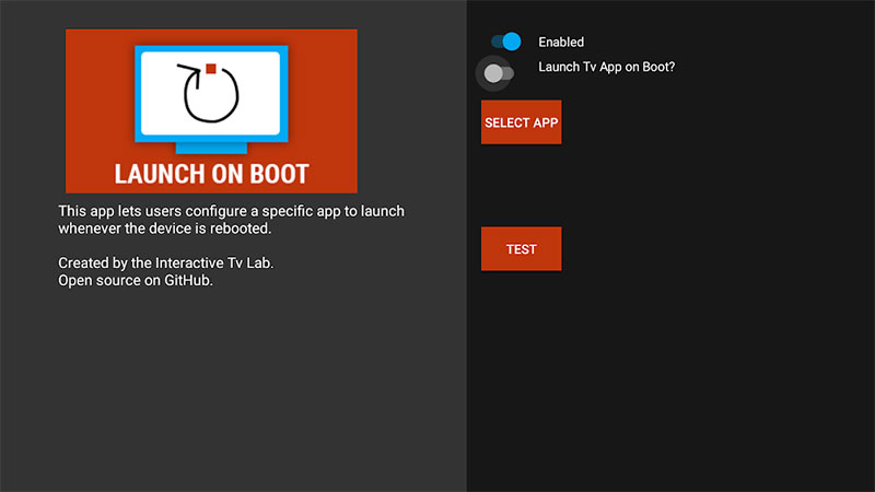 Launch on boot Android TV startup screen