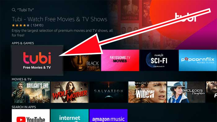 Tubi TV search result on Fire TV