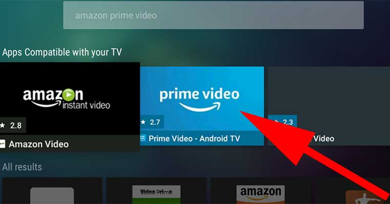 Click on Amazon Prime Videos Aptoide TV