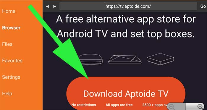 Download Aptoide TV using Downloader