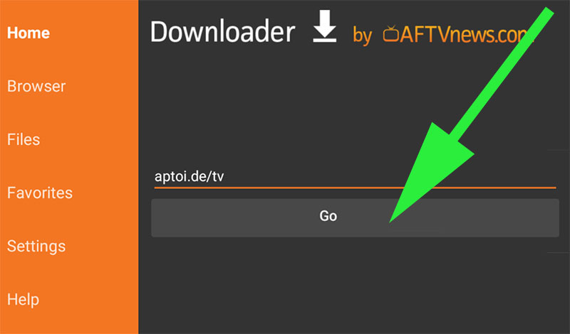 Go to Aptoide TV website using Downloader