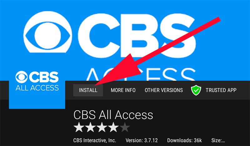 Install CBS all access on Android TV