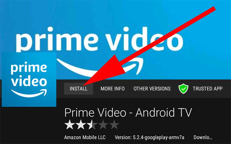 Install Prime Videos Android TV