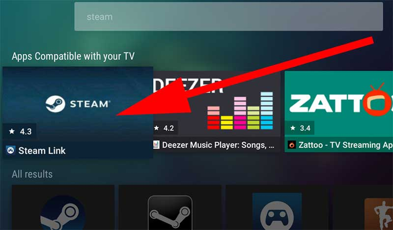 Select Steam Link from Search results Android TV