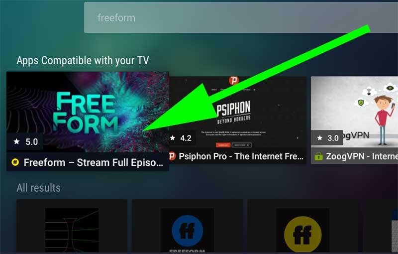 FreeForm search on Aptoide TV