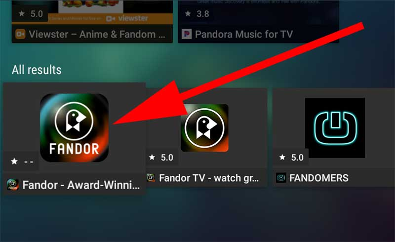 Select Fandor app on Fire TV
