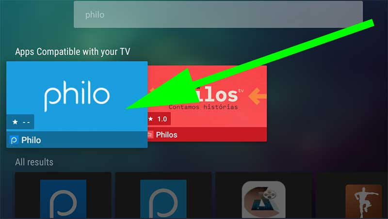 Philo TV app Search on Android TV