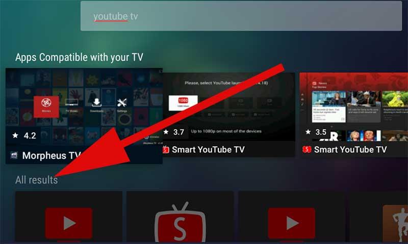 YouTube TV scroll down on Aptoide TV