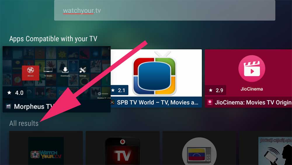 watchyour.tv search on Android TV