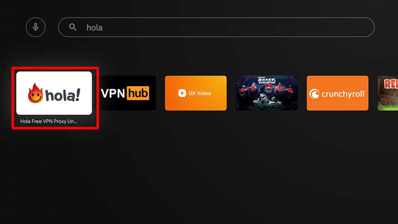 Hola VPN TV search