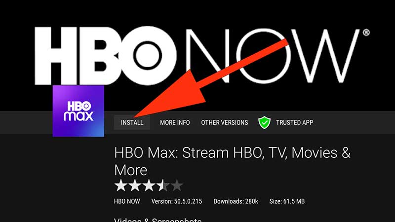Install HBO Max Android TV