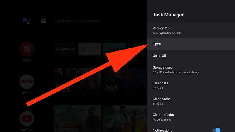 open task manger Android tv