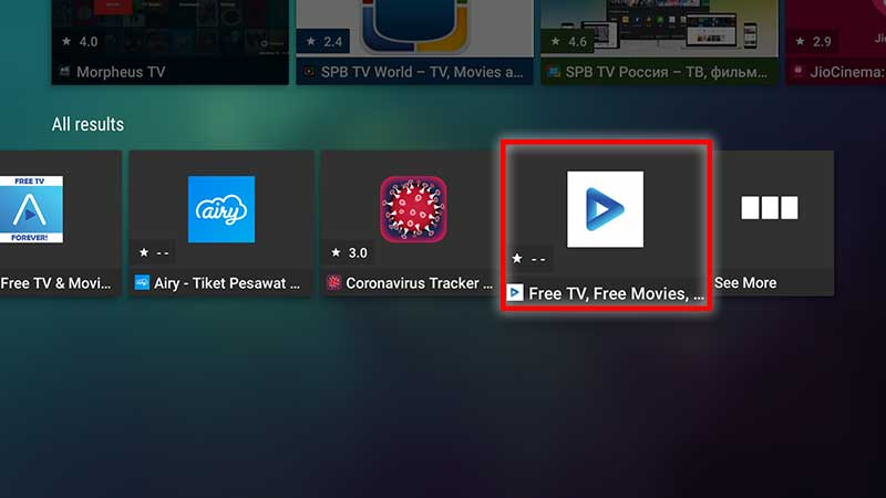 select Airy TV app Android TV