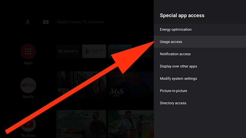 Usage Access Android TV