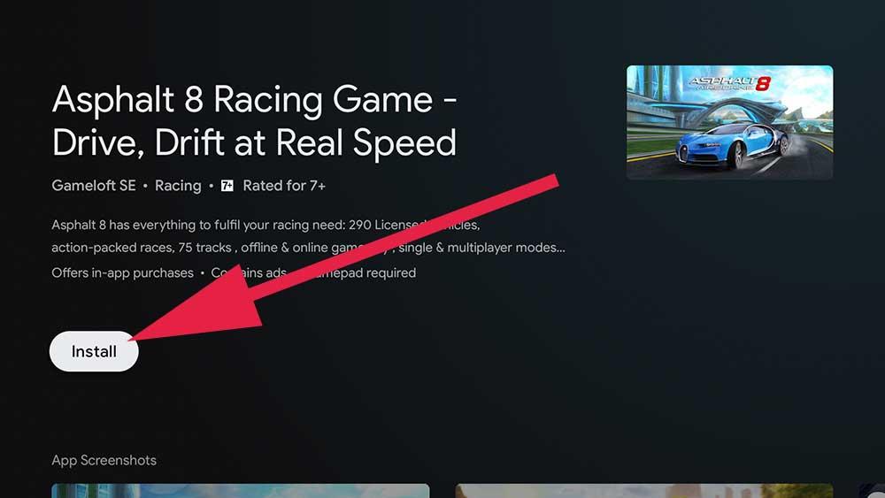 Asphalt 8 Google TV Racing Game