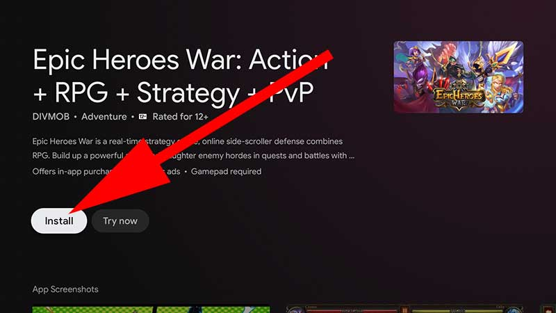 Install Epic Heroes war Android TV