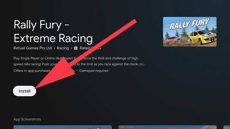 Install Rally Fury Android TV Game