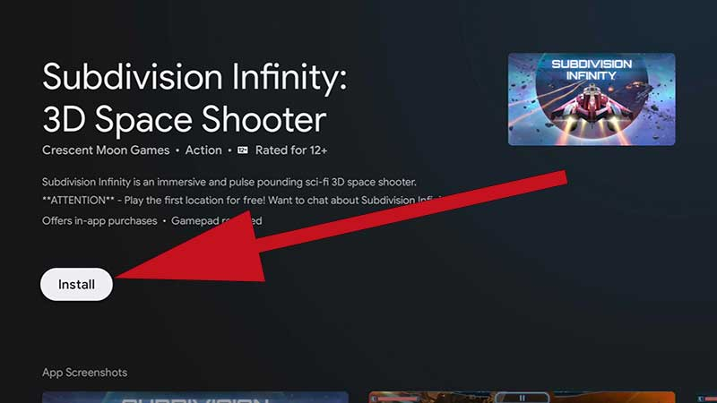 Install Subdivision Infinity on Android TV
