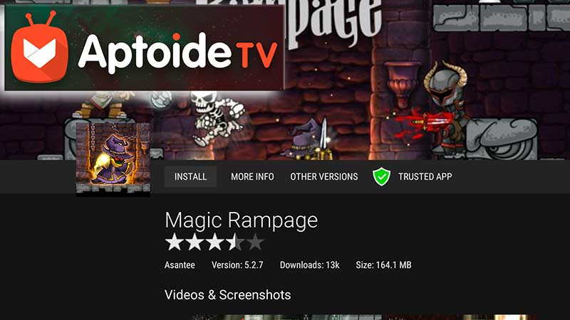 Magic Rampage Firestick using Aptoide TV