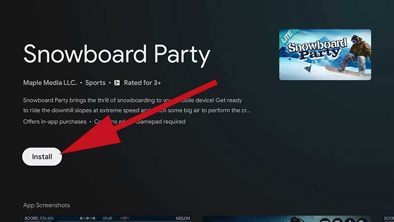 Snowboard party Lite TV Game install