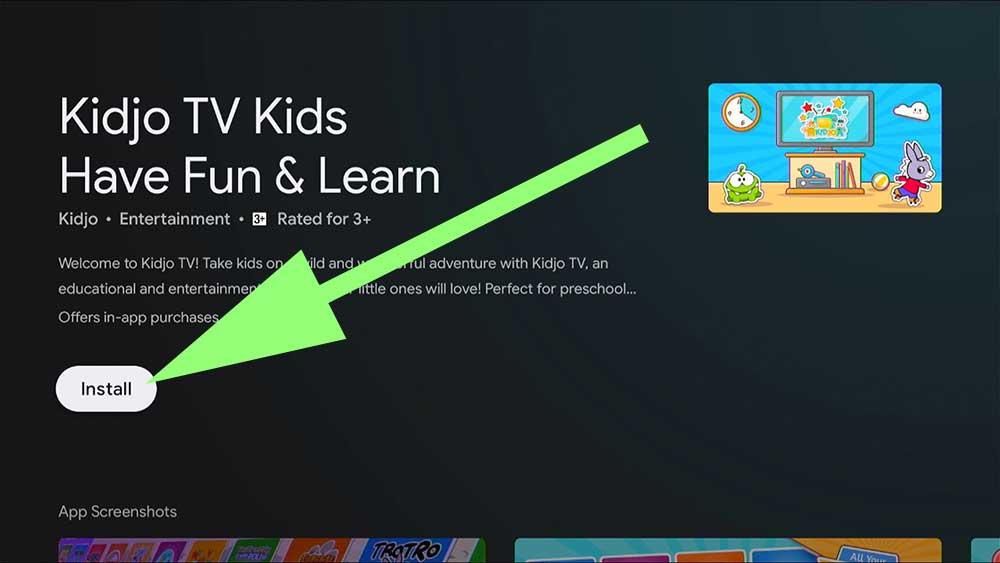 install Kidjo TV kids Android TV box