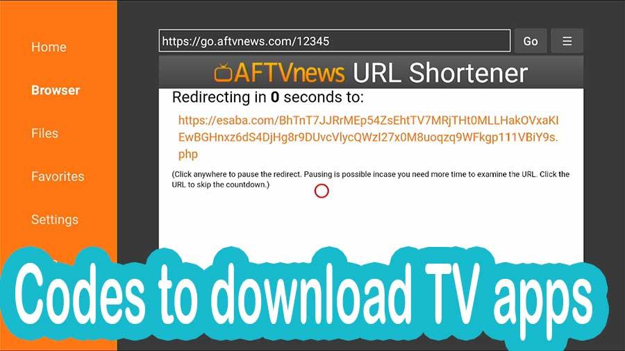 Codes to download TV apps via Downloader