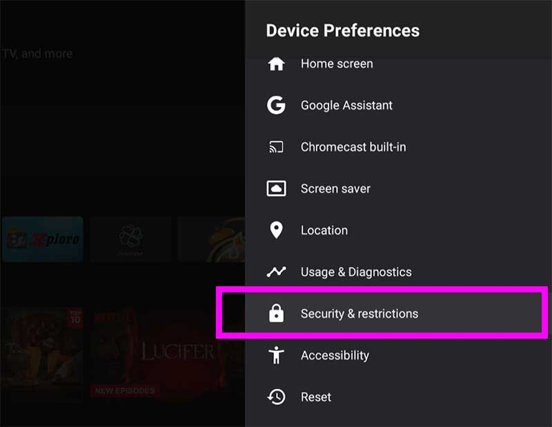 Security and Restrictions Android TV