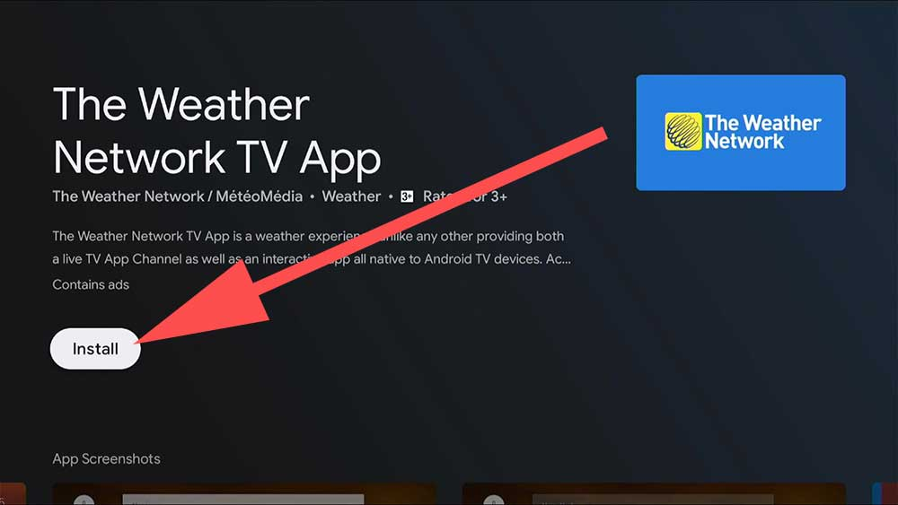 Weather app for Android TV
